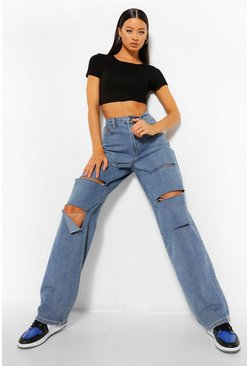 Mid blue Tall Slash Rip Boyfriend Jeans