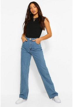 Mid blue Tall Denim High Rise Wide Leg Jeans