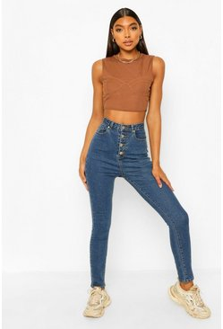 Mid blue Tall Denim Button Front Super Skinny Jeans