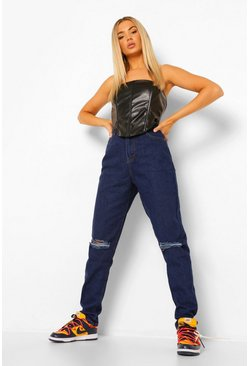 Dark blue blue Tall Denim Ripped Turn Up Cuff Mom Jeans