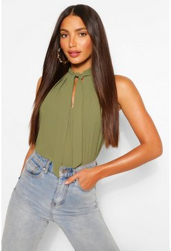 Khaki Tall Pussybow Sleeveless Blouse