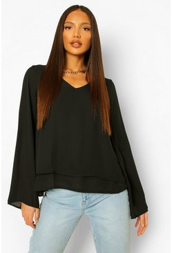 Black svart Tall Double Layer V-Neck Swing Blouse