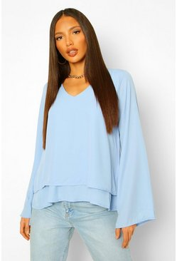 Blue Tall Double Layer V-Neck Swing Blouse
