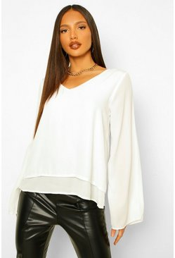 Ivory vit Tall Double Layer V-Neck Swing Blouse
