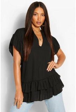 Black Tall V-Neck Ruffle Woven Smock Top