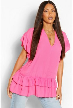 Pink Tall V-Neck Ruffle Woven Smock Top