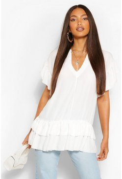 White Tall V-Neck Ruffle Woven Smock Top