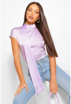 Lilac purple Tall Satin High Neck Detail Blouse