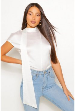 White Tall Satin High Neck Detail Blouse