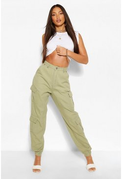 Khaki Tall Denim Twill Pocket Oversized Joggers