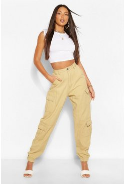Stone beige Tall Denim Twill Pocket Oversized Joggers