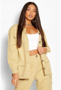 Stone beige Tall Denim Twill Pocket Oversized Jacket