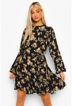 Black Tall Floral Woven Volume Sleeve Skater Dress
