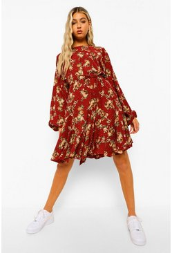 Red Tall Floral Woven Volume Sleeve Skater Dress