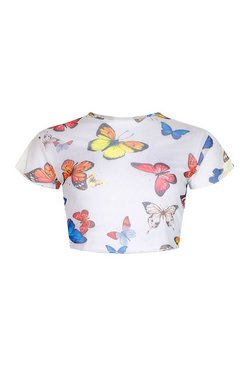 White Tall Mesh Butterfly Print Crop Top
