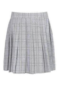 Grey Tall Check Pleated Kilt Mini Skirt