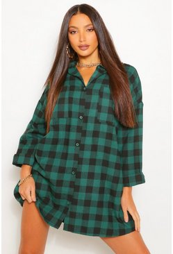 Green Tall Oversized Check Shirt Dress