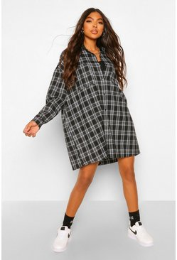 Black Tall Oversized Check Shirt Dress