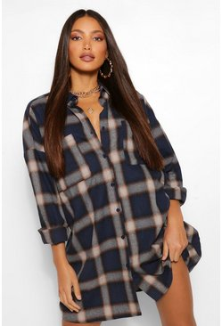 Navy Tall Oversized Check Shirt Dress