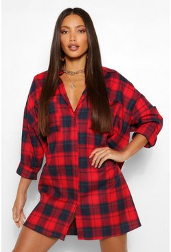 Rood red Tall Oversized Geruite Blousejurk