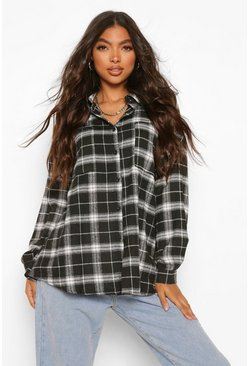 Black Tall Extreme Oversized Check Shirt