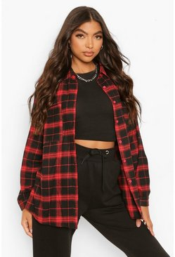 Red Tall Extreme Oversized Check Shirt
