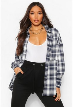 Navy Tall Extreme Oversized Check Shirt