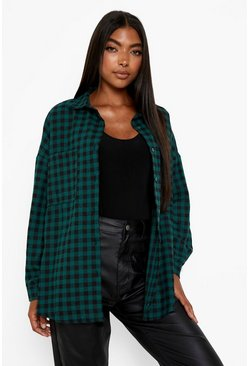Green Tall Extreme Oversized Check Shirt