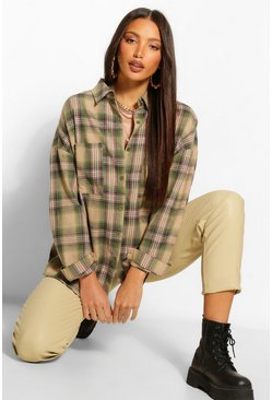 Green Tall Oversized Flannel Shirt