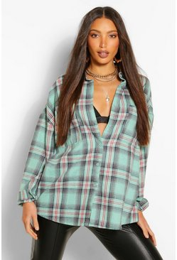 Turquoise blue Tall Oversized Check Shirt
