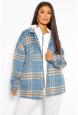 Blue Tall Brushed Cotton Oversized Check Shacket