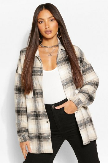 Black Tall Brushed Cotton Oversized Check Shacket