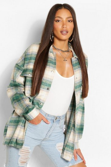 Green Tall Brushed Cotton Oversized Check Shacket