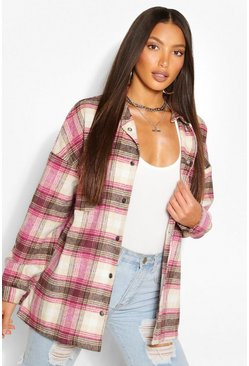 Pink Tall Brushed Cotton Oversized Check Shacket