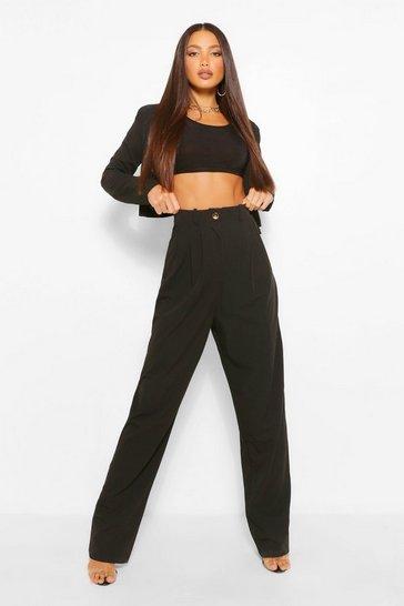 Black Tall High Waist Woven Trousers