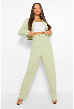Sage green Tall High Waist Woven Trousers