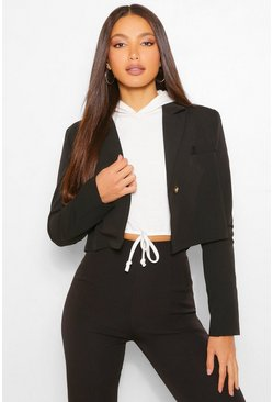Black Tall Crop Tailored Blazer