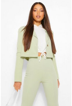 Sage green Tall Crop Tailored Blazer