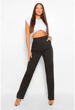 Black Tall Tailored High Waist Woven Trousers