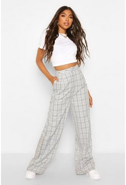Grey Tall Check Woven Wide Leg Trousers