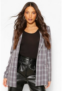 Black Tall Check Oversized Blazer