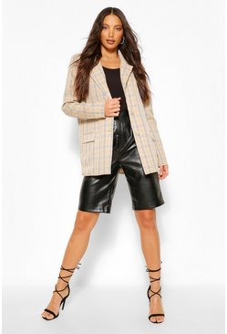 Sand beige Tall Check Oversized Blazer