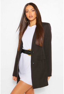 Black Tall Fitted Satin Blazer