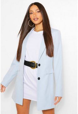 Blue Tall Fitted Satin Blazer