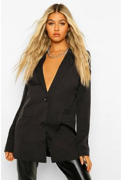 Black Tall Oversized Satin Blazer