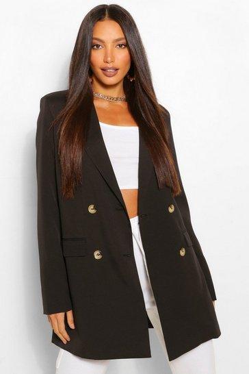 Black Tall Double Breasted Longline Oversized Blazer