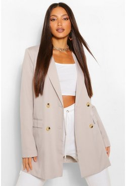 Grey Tall Double Breasted Longline Oversized Blazer