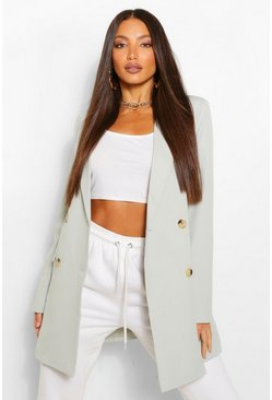 Sage green Tall Double Breasted Longline Oversized Blazer