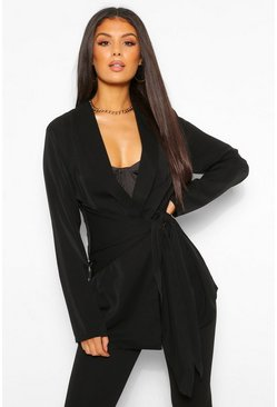 Black Tall Waist Detail Blazer