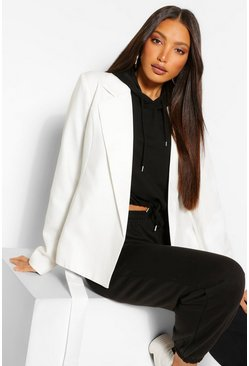 White Tall Belted Woven Blazer